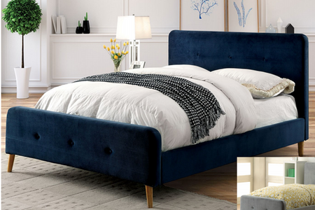 """These beds each feature smooth and inviting flannelette upholstery that allows the striking color options to make a statement. Curved corners, button accents and angled legs work together to add a touch of mid-century modern to the setting.  Queen Bed Size: 88 1/8""""L X 65""""W X 44 1/4""""H Full Bed Size: 83""""L X 58 3/4""""W X 44 1/4""""H Twin Bed Size: 83""""L X 43 1/2""""W X 44 1/4""""H"""