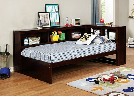 """A daybed is the perfect option for space savers or for youth with multiple needs. This design easily tucks into corners and helps open up a room. The bookshelf style sides and headboard give plenty of space for books and decorations. An optional trundle gives you an added sleeping surface for sleep overs, or an easy conversion into a large pullout drawer.  Twin Daybed Size: 88 3/8""""L X 54 5/8""""W X 37 3/8""""H Full Daybed Size: 88 3/8""""L X 69 5/8""""W X 37 3/8""""H"""