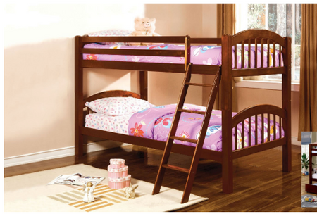 """Cherry Finish gives this Twin Twin Bunk a classic look.  Sturdy frame keeps this good for years to come.   Twin Size Bunk: 80"""" L x 42.5 W"""" x 61.5"""" H"""