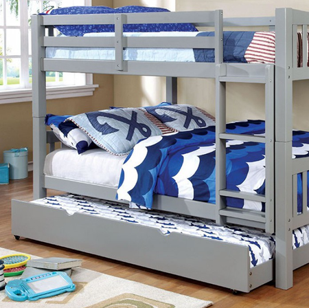 """This full over full (or twin over twin) bunk bed can be paired with a versatile trundle and drawer companion underneath and includes an attached ladder for easy access to the upper bed. The bunk bed comes in five finish options; dark walnut, white, blue, pink and the new introduction of gray.  Optional Trundle for extra bed pictured.   Full/Full Bunk Bed Gray Size: 81 3/8""""W X 58""""D X 60""""H"""