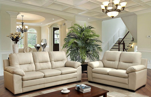 """CM6324 Ivory Stylish and chic, this set features plush seating and contemporary looks. Soft Leatherette in Ivory made with a solid wood frame.  Loveseat Size: 60 5/8""""L X 35 3/8""""W X 40 1/4""""H Sofa Size: 81""""L X 35 3/8""""W X 40 1/4""""H Chair Size: 41 3/4""""L X 35 3/8""""W X 40 1/4""""H"""