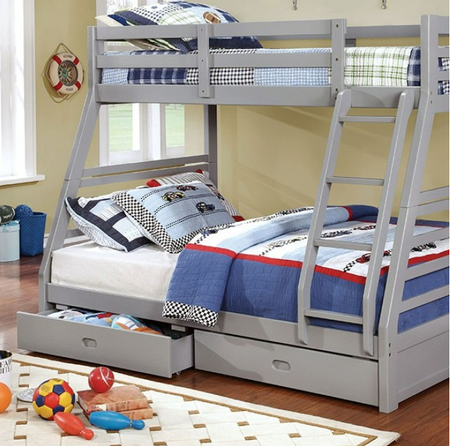 """Offering much more than a couple of beds to sleep in, this twin over full bunk bed helps save some space in the your kids' bedroom. It includes two large drawers for storage underneath and an attached ladder for easy access to the upper bed. It comes in four finish options: dark walnut, white, oak and the new introduction of gray.  Twin/Full Bunk Bed Size: 78 3/8""""W X 56 1/2""""D X 65""""H"""