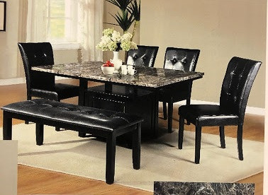 """Pub Table with faux marble on leatherette chairs, available bench seating.   Table Size: 54"""" x 42"""""""