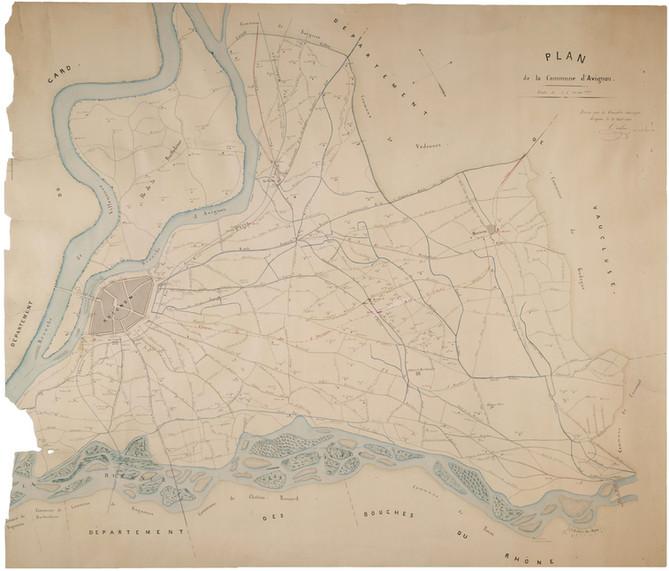 1861 – Plan de la commune d'Avignon. Tracé du chemin de fer d'Avignon à Gap