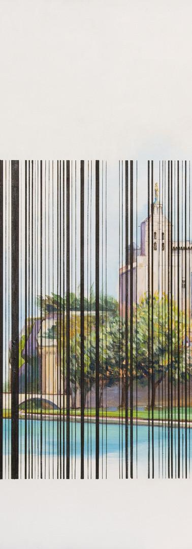 Interprétation de la vue touristique traditionnelle sur le pont Saint-Bénezet et le Palais des papes depuis l'île de la Barthelasse