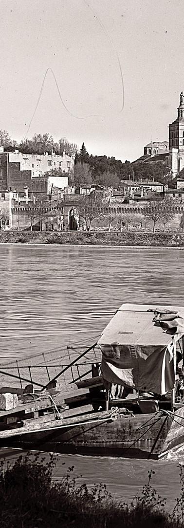 Vue sur le pont Saint-Bénezet, les remparts et le Palais des papes depuis l'île de la Barthelasse