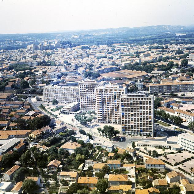 Vue aérienne sur les immeubles de l'avenue de la Trillade