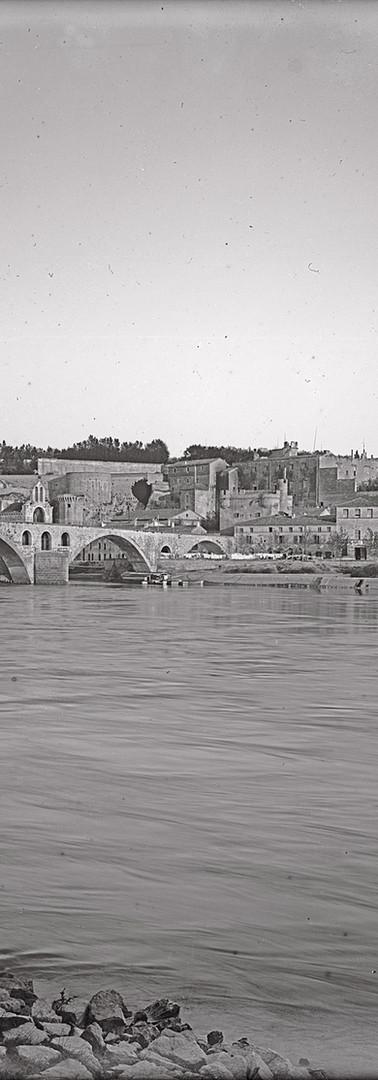 Vue sur le pont Saint-Bénezet et le Palais des papes depuis l'ïle de la Barthelasse