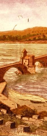 Le châtelet, le pont Saint-Bénezet et la tour Philippe-le-Bel depuis le Rocher des Doms