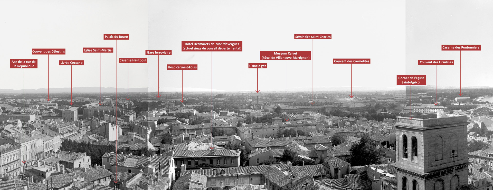 Vue panoramique d'Avignon depuis le beffroi de l'hôtel de ville 2/4