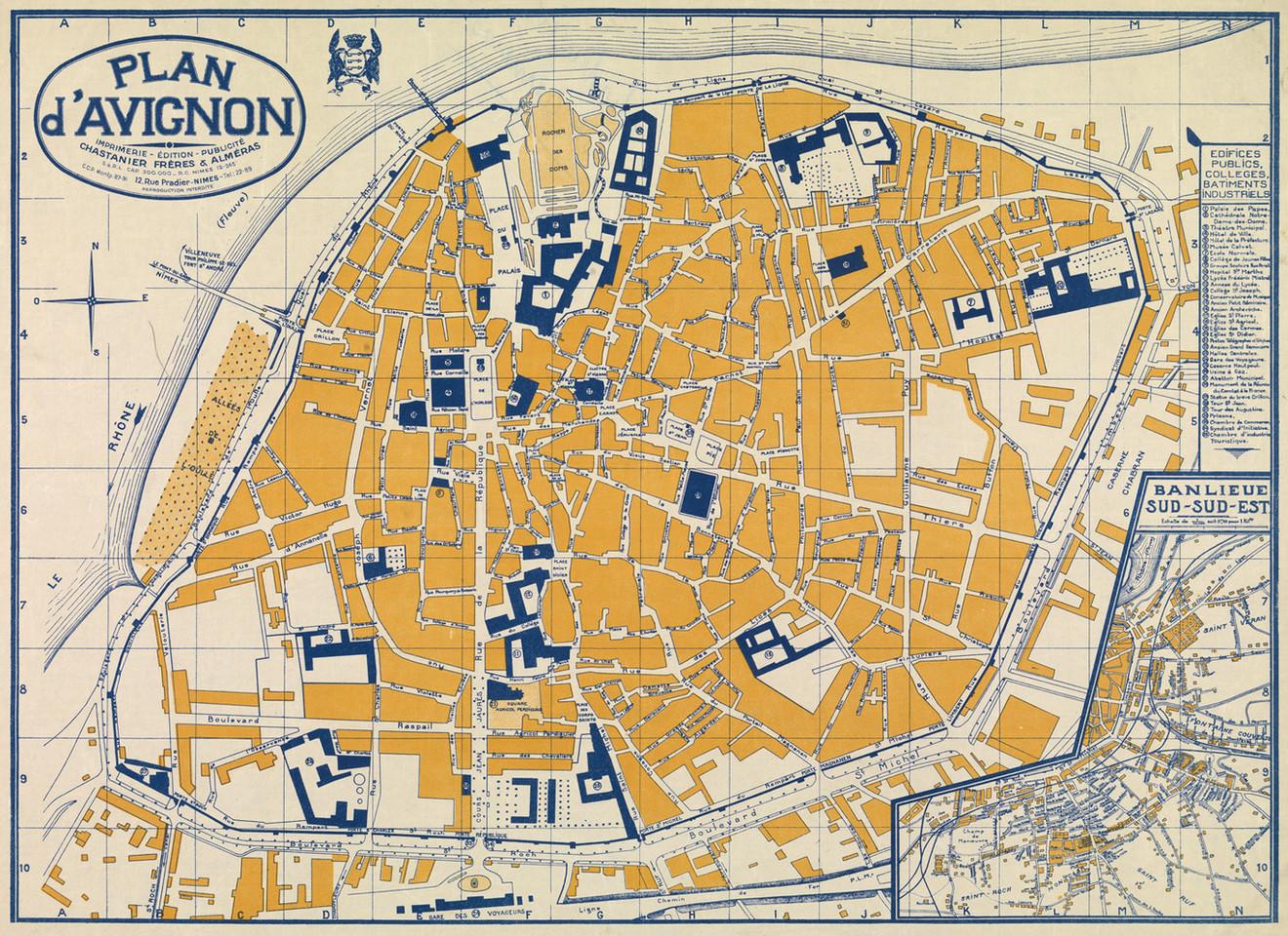 1931 – Plan guide d'Avignon et de sa banlieue « SUD - SUD-EST »