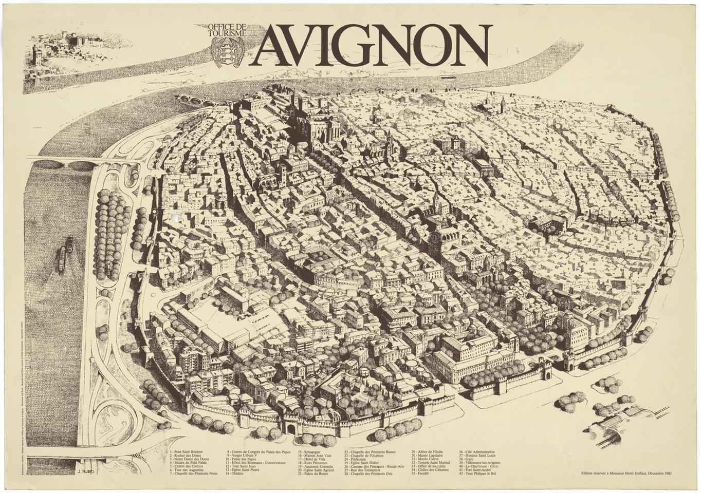 1980 – Avignon en perspective cavalière. Dessin de J. Bard