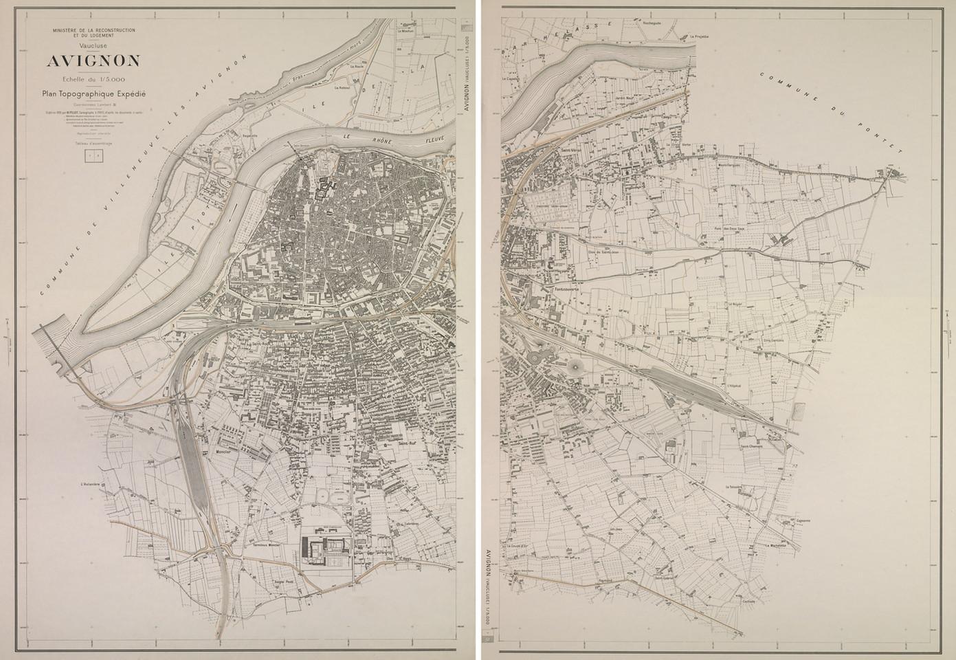 1959 – Plan topographique du ministère de la Reconstruction en deux feuilles