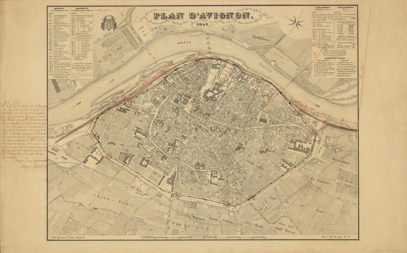 1856 – Plan d'Avignon sur lequel a été reporté le projet d'implantation d'une gare en 1848