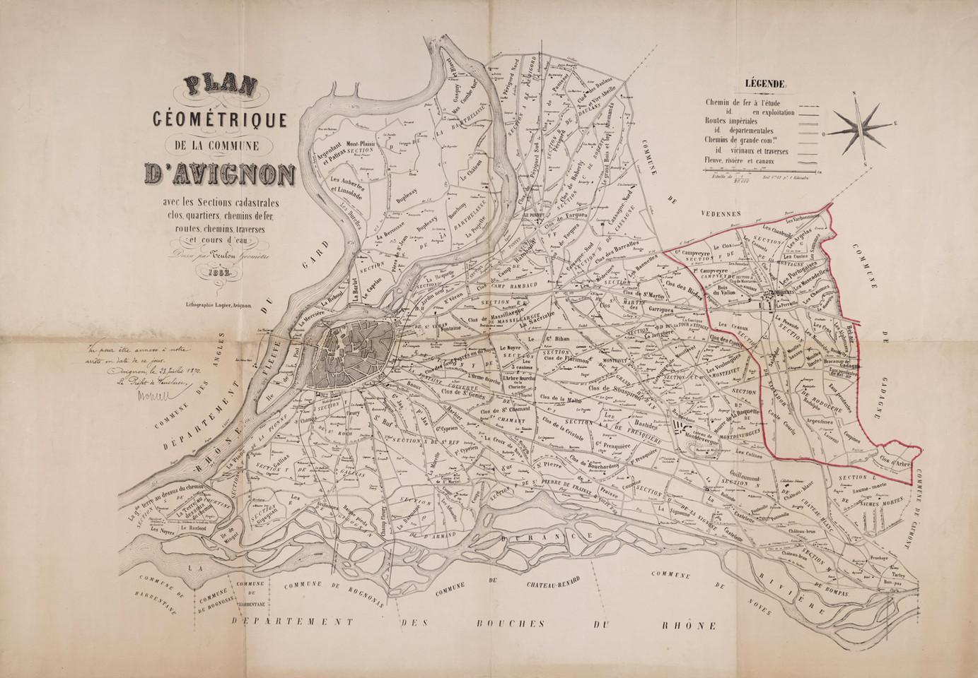 1862 – Plan géométrique de la commune d'Avignon. Tracé délimitant la nouvelle commune de Morières