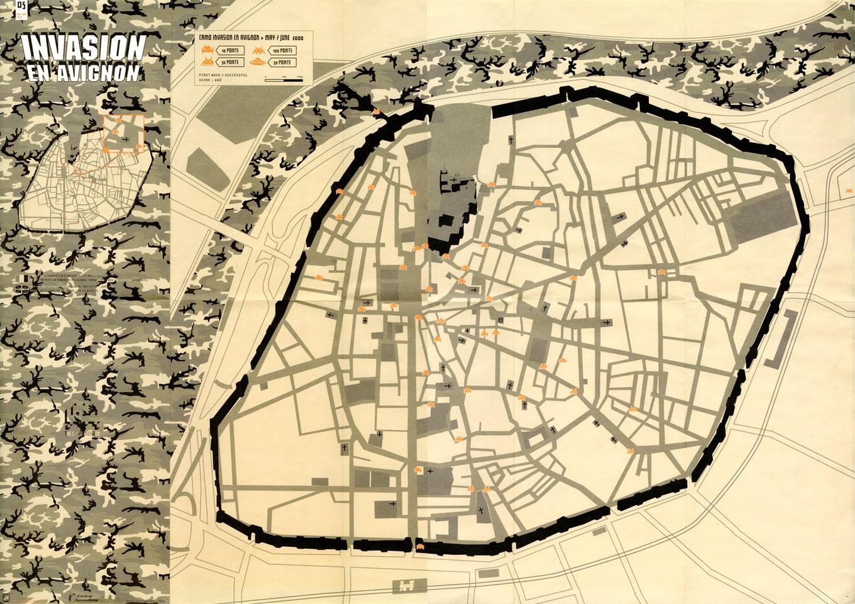 2000 – Carte de l'invasion en Avignon « Space Invaders »
