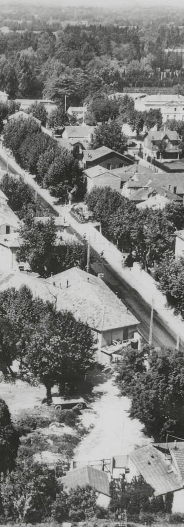 Vue aérienne du quartier de Montfavet dans l'axe du cours Cardinal-Bertrand