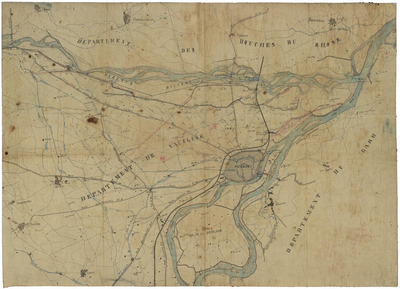 1860 – Carte du Rhône et de la plaine d'Avignon