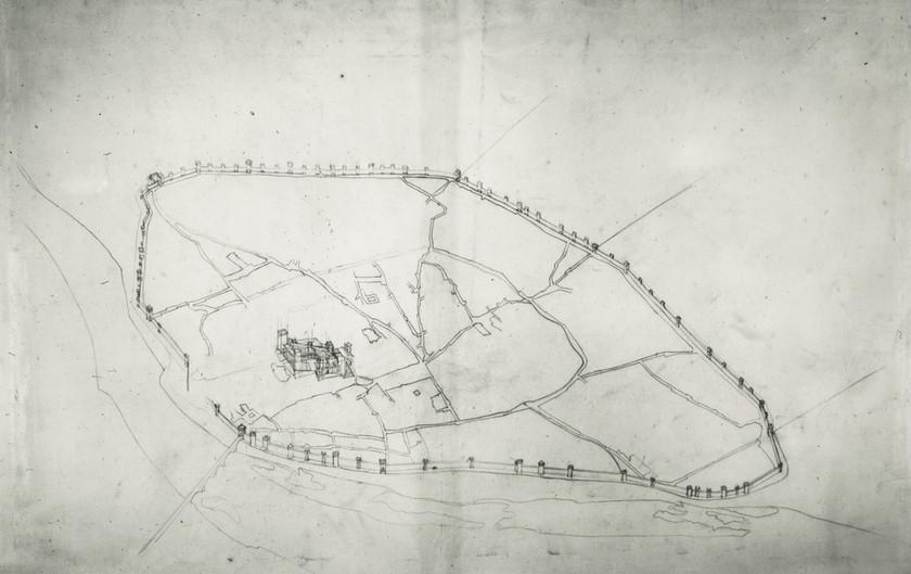 1850 – Vue schématique de la ville d'Avignon (fonds Viollet-le-duc)