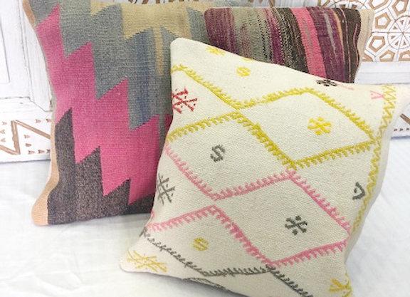 Vintage Boho Kilim Pillow - Hot pink color 'pop'
