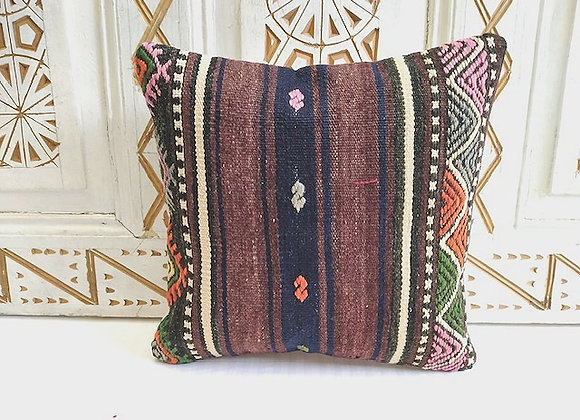 Vintage Turkish Boho Pillow         40x40cm Earth & Navy