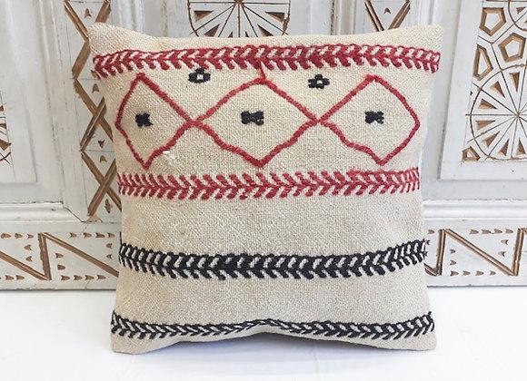 Vintage Boho Kilim Pillow - Natural with Motifs