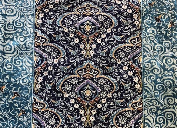 Kayseri Pure Silk Carpet - 100 % handmade. Ottoman design