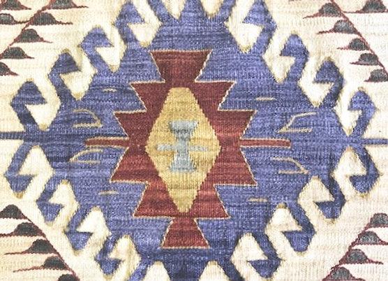 New Natural Dye Kilim -Indigo 3 medallion