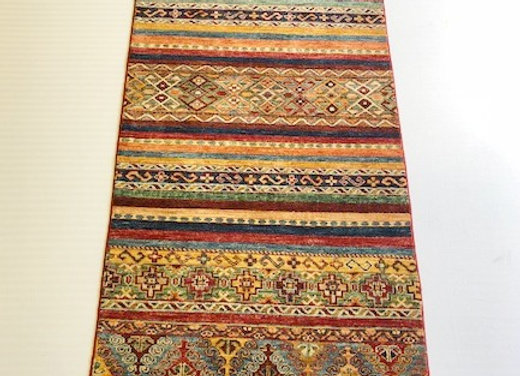 Contemporary Hall Runner - Kilim Design  Rug Collection /Soft Blue Multi