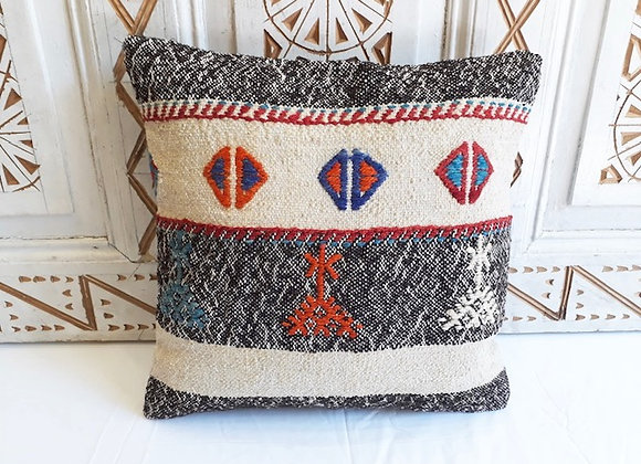 Vintage Kilim Pillow -textured Charcoal and natural