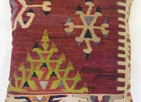 VintageTurkish Kilim Pillow-Nomadic  Size: 40 x 40 cm (1.3 ft )