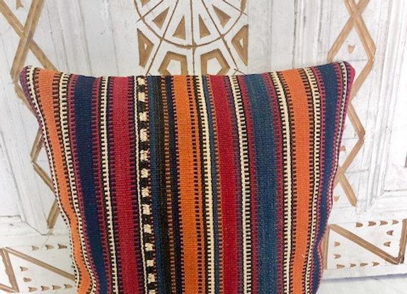 Vintage Boho Kilim Cushion - Orange and Blue Stripe