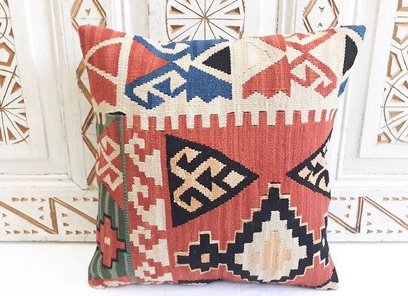 Turkish Kilim Cushion - Peach pastel geometric