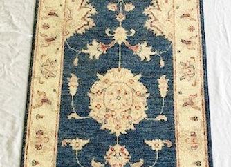 Contemporary Indigo Blue Hallway Rug - Usak / Turkey
