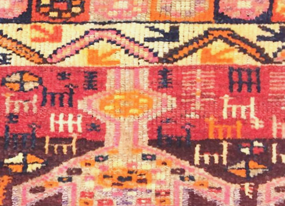 Vintage Kurdish Rug with animal motifs
