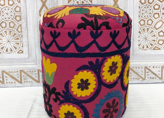 Vintage Suzani upholsted Pouf  x 2  - Flower circie Design