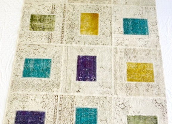 Contemporary 'Patchwork'overdyed Rug / Turkey