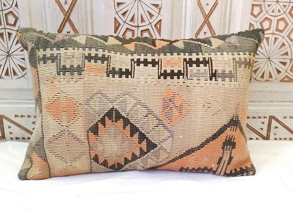 Vintage Kilim Pillow                   Large 65 x 43    'Smoke &Apricot'