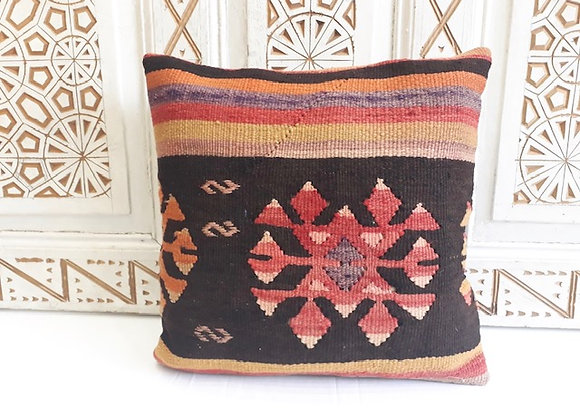 Turkish Vintage Kilim Pillow -Sunburst