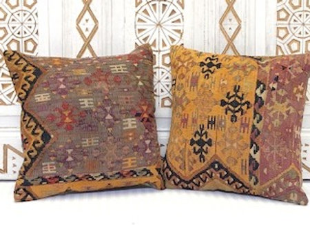 Vintage Turkish Kilim Cushion - Pumpkin & Aubergine x 2