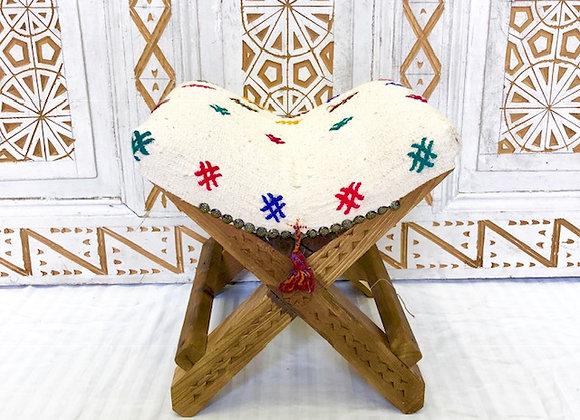 Handmade TurkishTeahouse Stool x 2 - Textured White