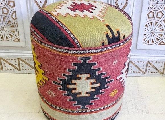 Vintage Kilim Pouf - Geometric Boho. Buy one of take the pair !