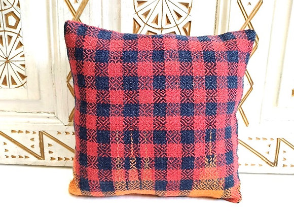 Vintage Kilim Throw Pillow -Red / Blue Check