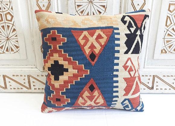Turkish Kilim Cushion - Soft pastel+ Blue