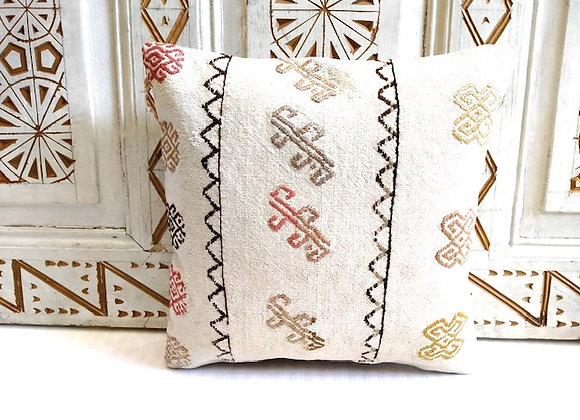 Vintage Kilim Pillow - 40 X 40cm White & Tribal Motif