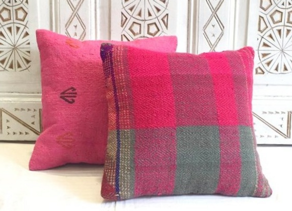 Hot Pink Check Boho Pillow                                               40x40cm