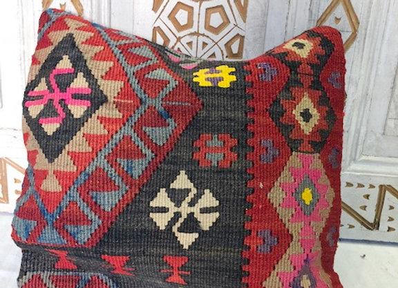Vintage Boho Kilim Pillow  -Vibrant Red + Charcoal