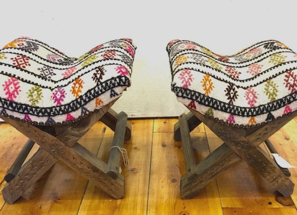 Boho Turkish Teahouse Stool Kilim