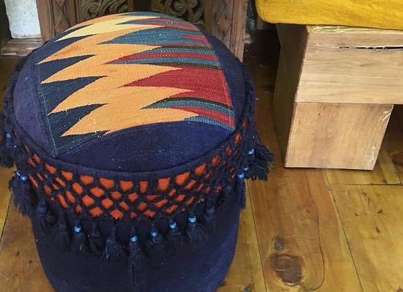 Design Anatolia Vintage Kilim and Tassel Pouf