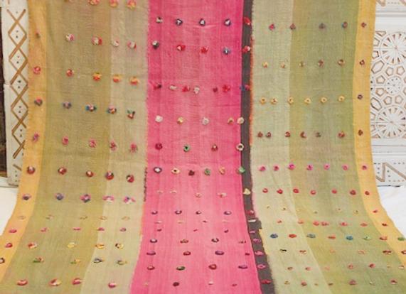 Vintage Nomadic 'Perde' Kilim                               Hot Pink + Green